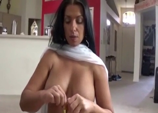 Busty mom sucked her son on knees