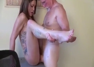 Slender young daughter banged from behind