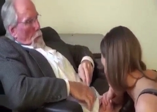 Filthy old dad sucked by young daughter