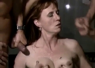 Two men are cumming on their hot mom