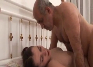 Busty babe jumps on hard dick of her dad
