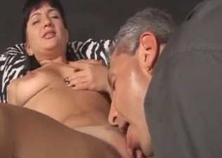 Hot brunette gets licked by filthy daddy