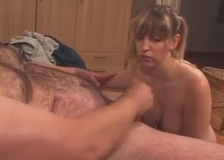 Blonde daughter sucks her daddy's dick