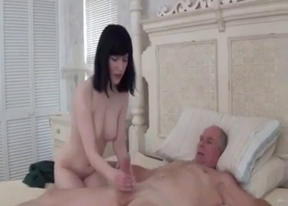 Sexy brunette jumps on her daddy's shaft