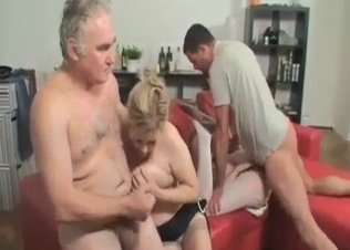 Cute granddaughter sucks a very old boner