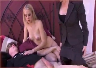 Beauty blonde and her son enjoy incest sex