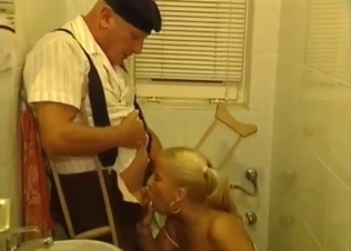 Sexy busty daughter jerks off her old dad
