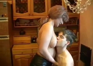 Sensual mom and her skinny young son