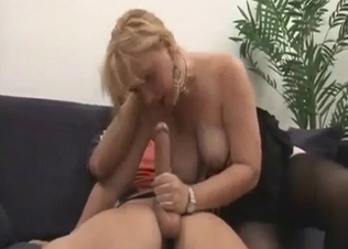 Busty mom sucks her own son with passion