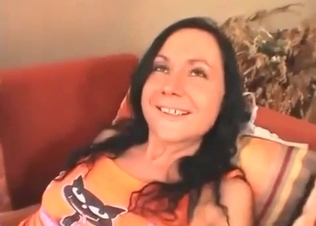 Stunning brunette sis stimulates by brother