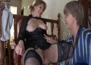 Horny young man is playing with his mother
