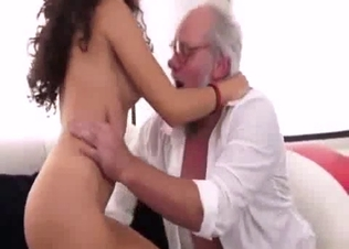 Curly stepdaughter rides her old daddy