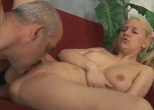Busty blonde dances naked for her dad