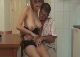 Daddy kisses big boobs of his daughter