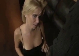Cutest young blonde blows a dick on the knees