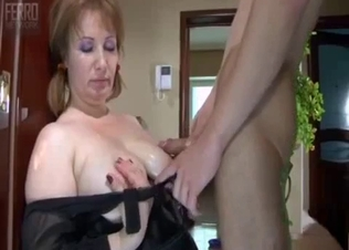 Awesome brunette jerks and sucks a big dick