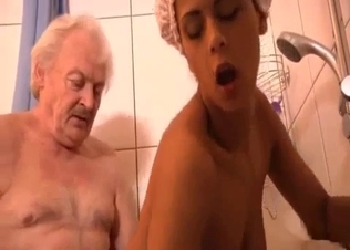 Old man pounds a passionate granddaughter