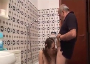 Old man licks a pussy of a granddaughter