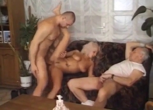 Blonde hottie gets her mouth fucked