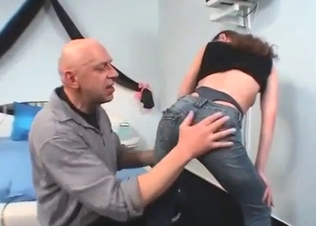 Bald dad plays with a sexy young daughter