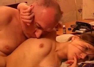 Daddy is touching his slutty daughter