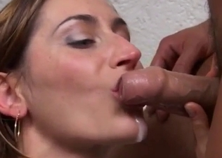 Sexy sister jerks my dick in mouth