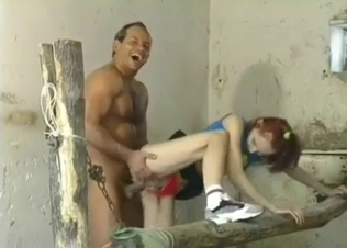 Awesome redhead fucked in doggy style pose