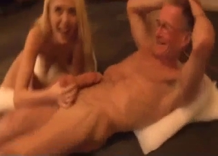 Daddy fucks his daughter in missionary pose